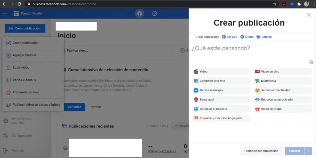 Creación de publicación en facebook creator studio