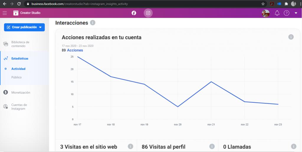 Estadísticas con facebook creator studio