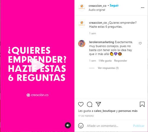 Instagram reels ejemplo de contenido educativo